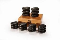 Hot Stones - sada 18 lávových kamenů + Dárek zdarma: masážní čok